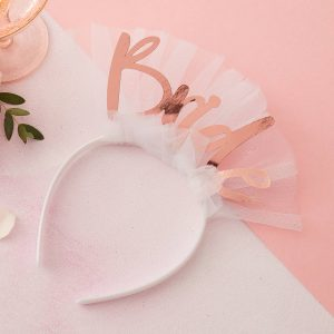 White and Rose Gold Bride Head Band