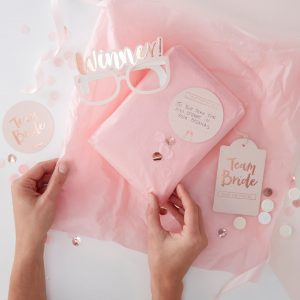 Rose gold hen party pass the parcel game kit
